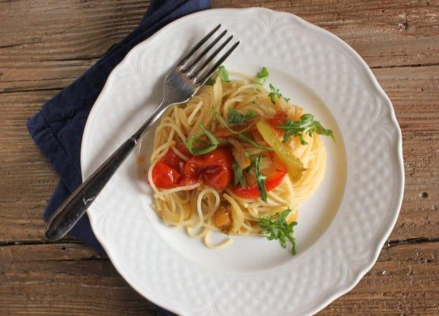 sauteed vegetables and spaghetti