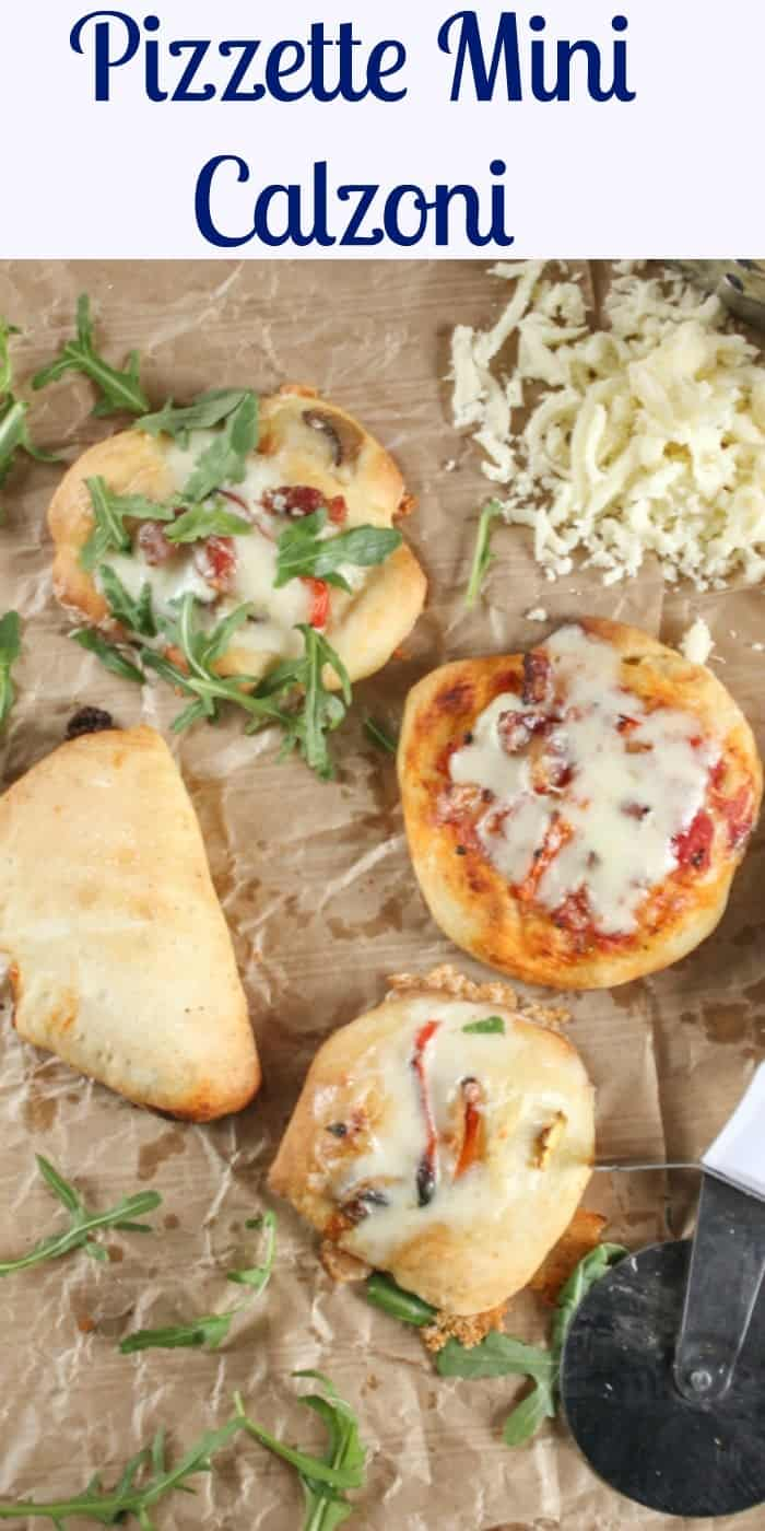 Pizzette Mini Calzoni , mini pizzas and calzoni, easy,delicious appetizers or snacks, perfect for parties or get togethers, kids will love them.  anitalianinmykitchen.com