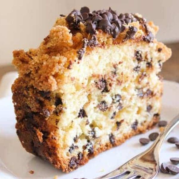 upclose slice of chocolate chip crumb cake