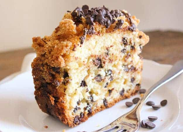 Chocolate Chip Crumb Cake, a delicious cake filled with chocolate chips and topped with an amazing chocolate chip crumb topping.