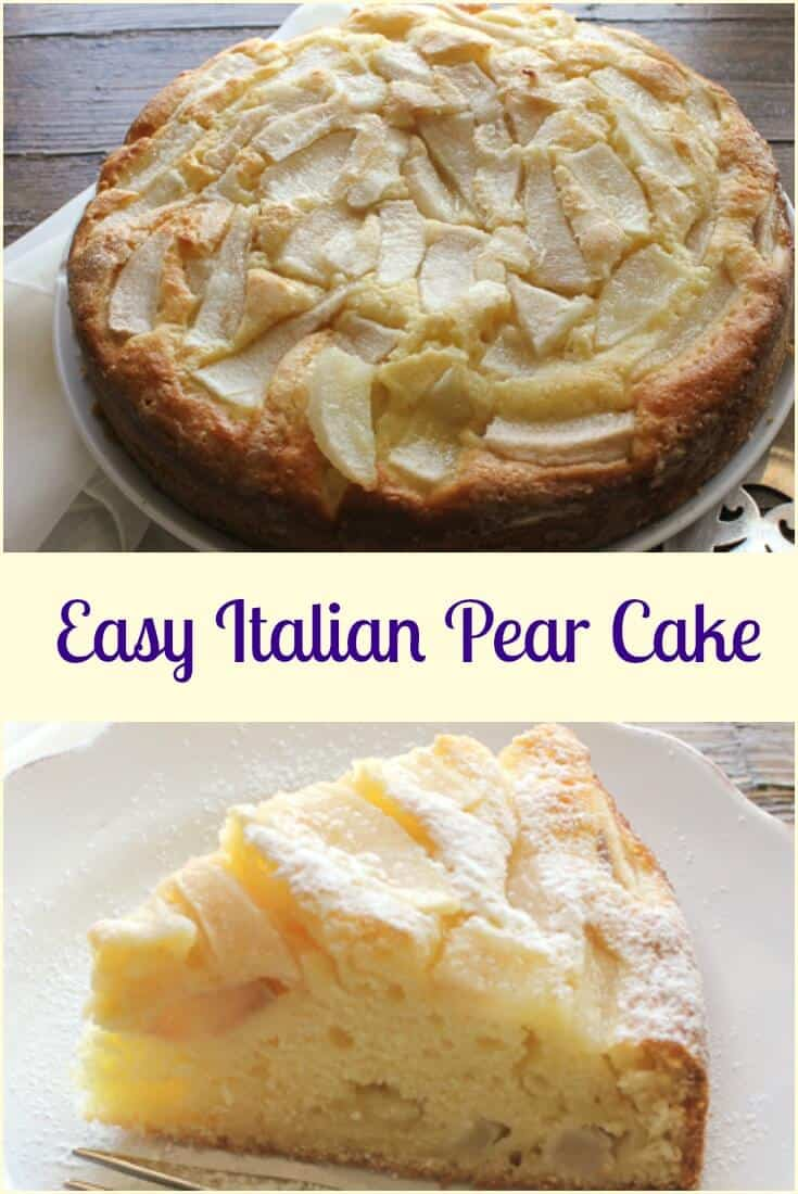 Easy Italian Pear Cake, a delicious moist Italian cake made with fresh pears and mascarpone. A perfect breakfast, snack or anytime cake recipe. #pearcake #Italiancake #cake #Italiandessert #Italianrecipe #dessert