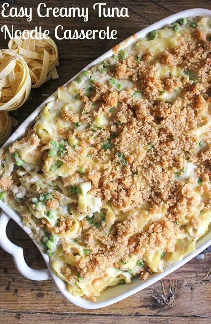Easy Creamy Tuna Noodle Casserole, quick, easy, healthy and so creamy, a delicious Tuna Casserole. Peas or broccoli make this amazing.   Your family will love it!