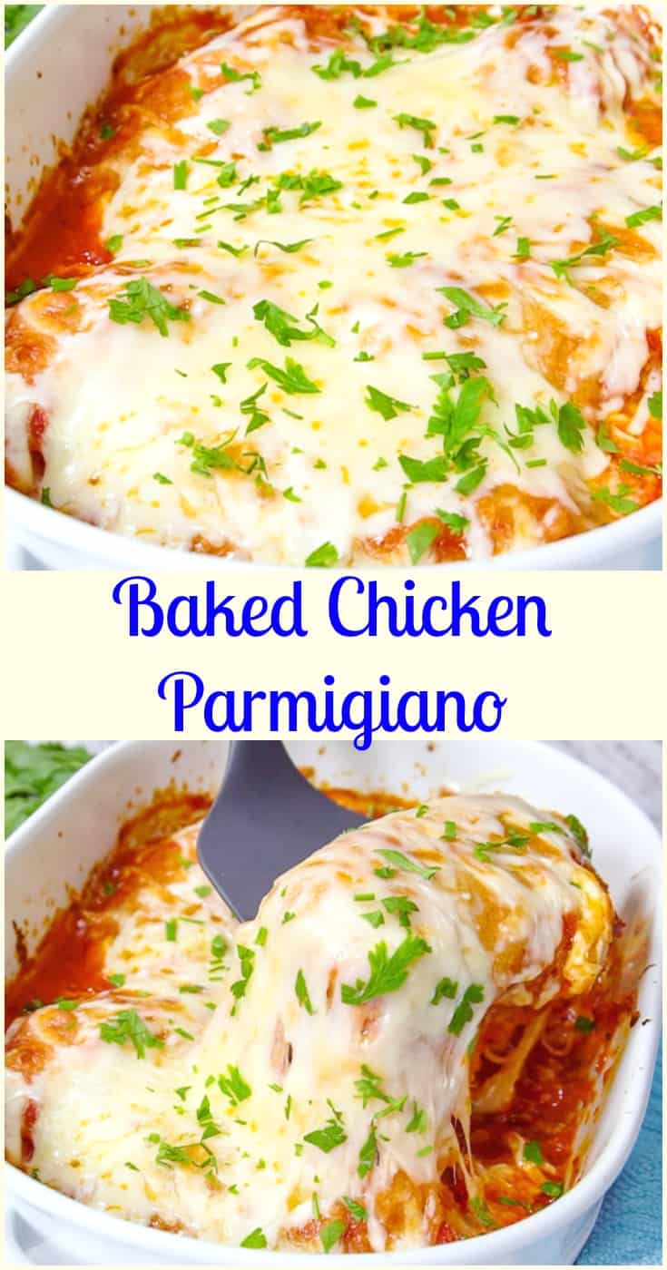 Baked Chicken Parmigiano, an easy, delicious baked chicken casserole recipe. A perfect comfort food dinner for family or guests. The best!  #chicken #parmesan #parmigiano #Italian #dinner