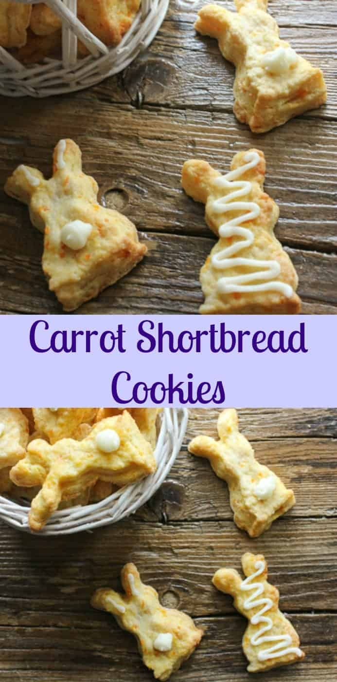 Carrot Shortbread Cookies, a melt in your mouth shortbread with a hint of carrot. Shortbread gets a touch of healthy. Bunnies for Easter.|anitalianinmykitchen.com