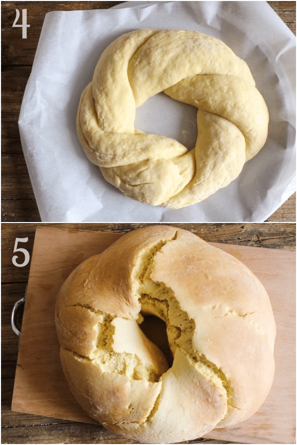 Italian Easter bread how to make forming the dough and baked