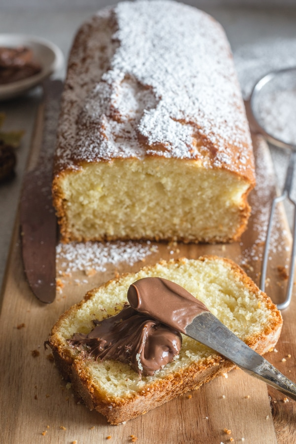 plumcake with hazelnut cream spread