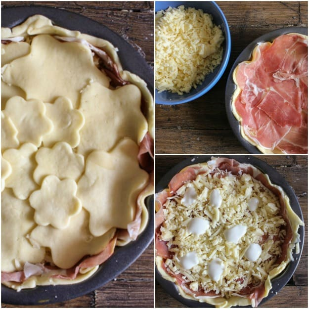 Italian Savory Rustic Pie is a delicious main dish or appetizer. A double creamy filling of prosciutto, Gruyere and a little white sauce.
