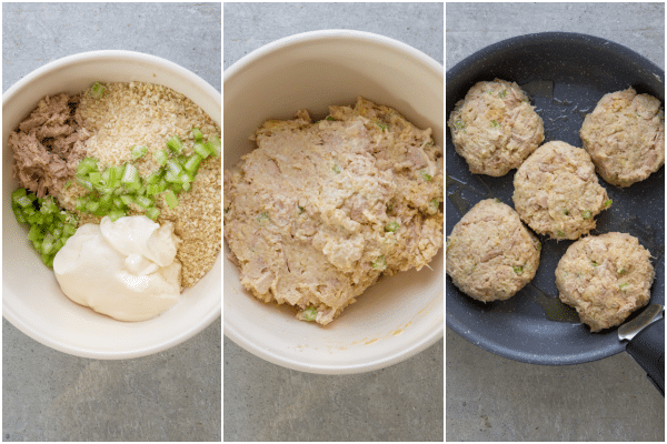 how to make tuna patties the ingredients in a bowl, mixed together and in the frying pan to be cooked