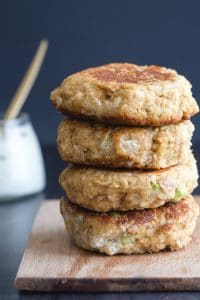 4 stacked tuna burgers