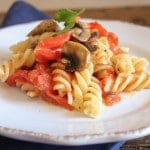 fusilli with fresh tomatoes and mushrooms/anitalianinmykitchen.com
