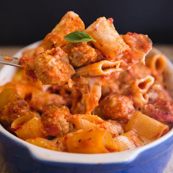 meatball casserole up close on a spoon