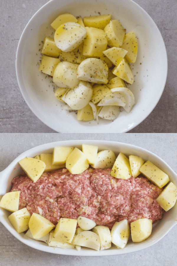 Italian meatloaf how to make potatoes ready to be cooked and in the pan with the polpettone