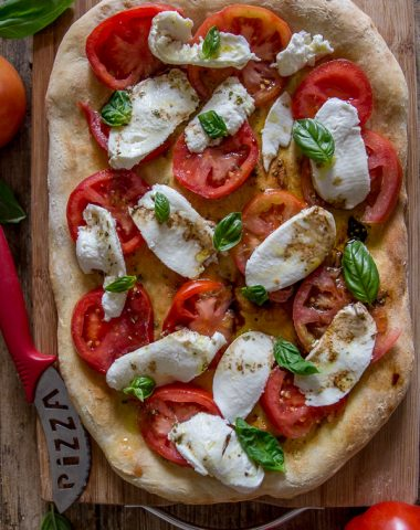 no yeast pizza dough baked with a caprese topping