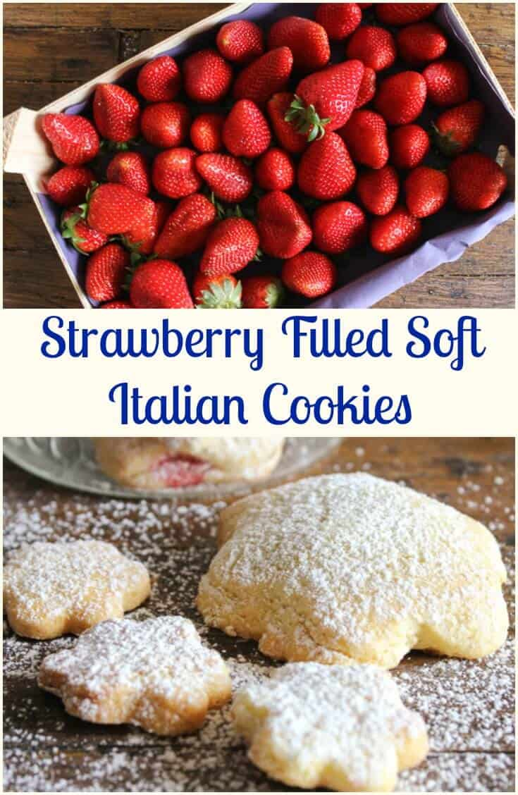 Strawberry Filled Soft Italian Cookies, a delicious soft cookie with a yummy fresh strawberry filling. The Perfect Dessert or Snack Cookie. #cookies #strawberries #Italiancuisine #tarts