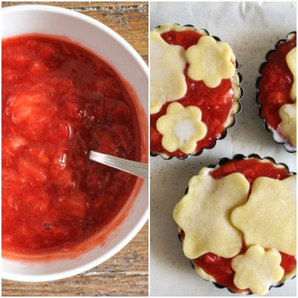 strawberry filled tarts, strawberry filling in a white bowl, filling in tart shells ready to be baked