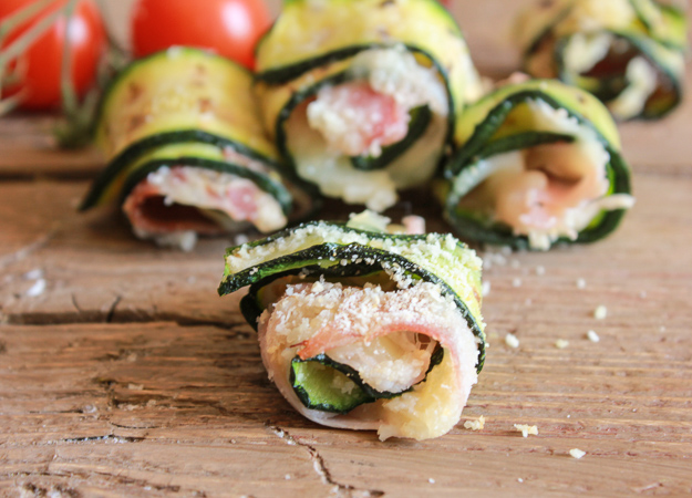 Bite size grilled zucchini roll-ups