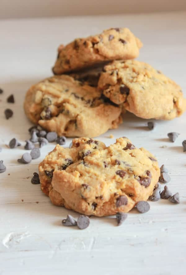 Thick Peanut Butter Chocolate Chip Cookies, so easy and I am sure the best you will every eat, nice and soft and full of chips, so good, I have to go make some more!