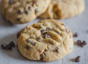 up close photo of a peanut butter chocolate chip cookie