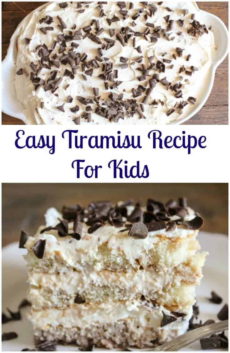 An Easy Tiramisu recipe for kids, a no-bake, delicious Italian dessert, made with every kids (and maybe adults too!) favorite ingredient. #tiramisu #nocoffeetiramisu #foodforkids #easydessert #dessert #Italiandessert #dessertforkids