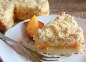 Easy Italian Fresh Peach Crumb Cake, a delicious peach dessert recipe,snack, dessert or even breakfast. Alone or with ice cream.Perfect!