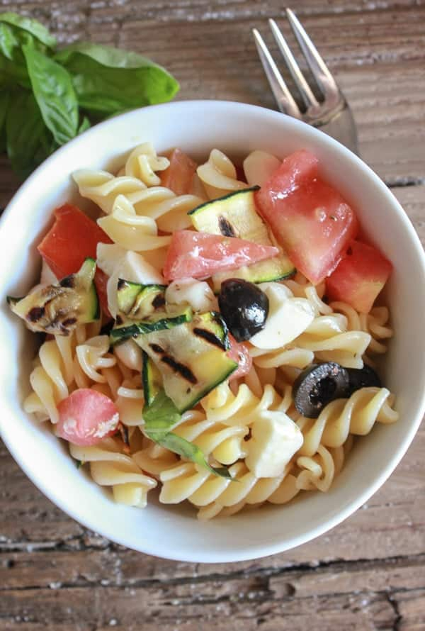 The perfect Italian Pasta Salad with Fresh Summer Vegetables. An easy, healthy summer salad, with grilled zucchini. Serve it for lunch, dinner or a party/anitalianinmykitchen.com