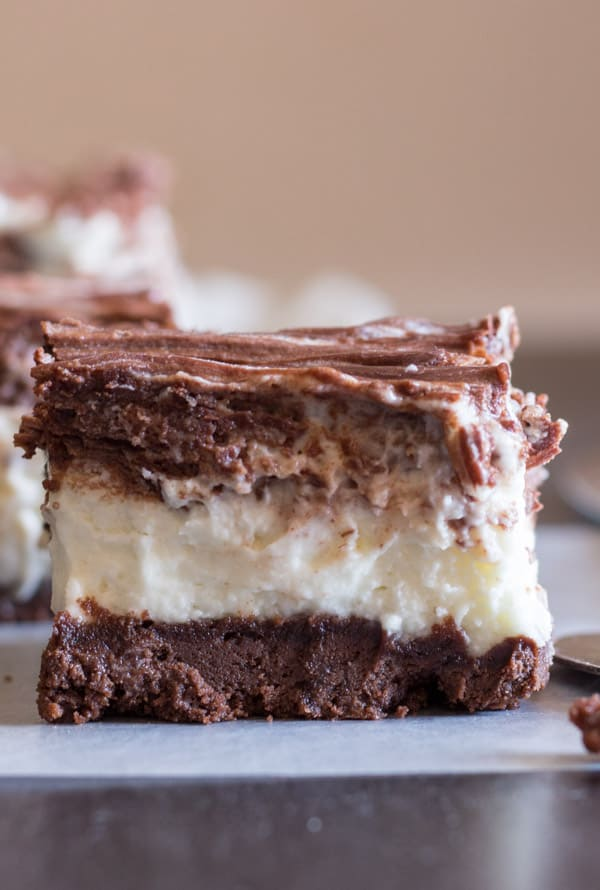 No-Bake Nutella Cookie Crust Double Chocolate Cheesecake, with a better than Oreo crust, the ultimate creamy chocolate cheesecake dessert.