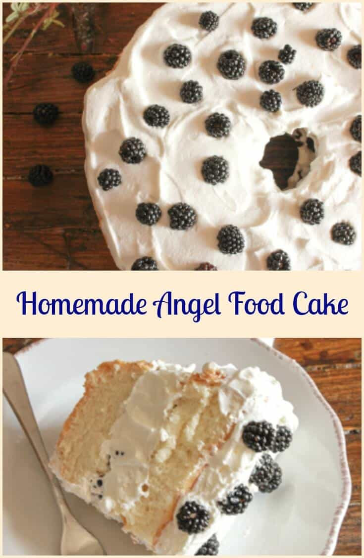 Homemade Angel Food Cake, an easy delicious made from scratch cake recipe. Best with a simple whipped cream filling and fruits and berries.