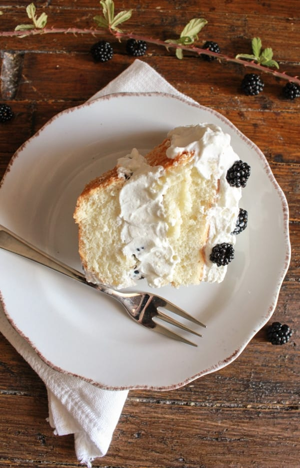 Homemade Angel Food Cake, an easy delicious made from scratch cake recipe. Best with a simple whipped cream filling and fruits and berries/anitalianinmykitchen.com