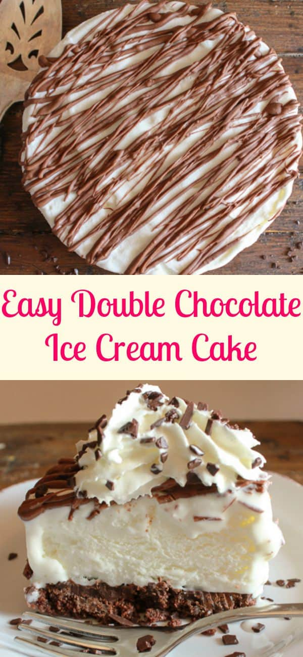 Easy Double Chocolate Ice Cream Cake, the perfect easy summer ice cream cake dessert recipe, cookie crumb base and your favorite ice cream/anitalianinmykitchen.com