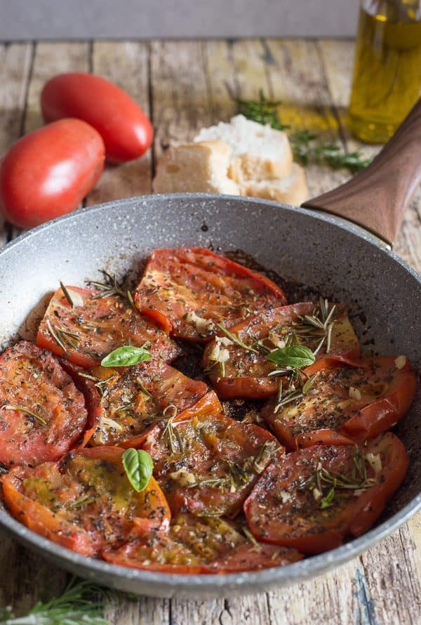 fried tomatoes in a pan