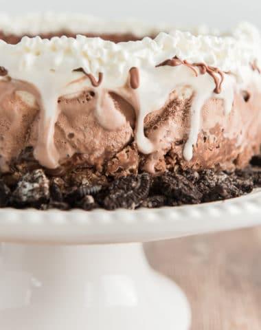 ice cream cake on a white stand