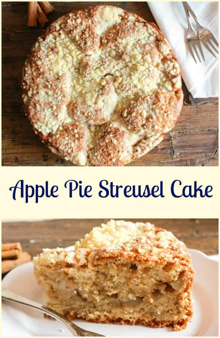 Apple Pie Streusel Cake, an easy and delicious cake, let the wonderful scent of cinnamon and apple fill your home, the cake is even better!  Apple Pie becomes a Cake!