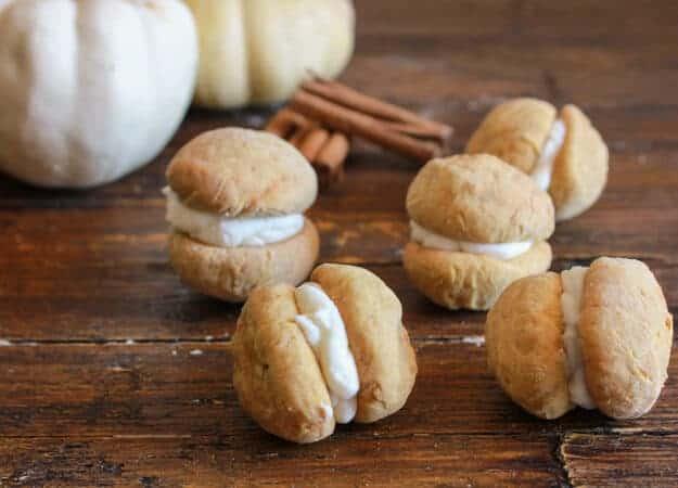 Pumpkin Baci di Dama with Mascarpone Filling, a delicious, delicate Italian cookie recipe, the perfect homemade Fall dessert or snack.