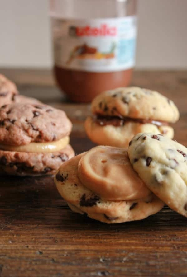 Chocolate Chip Sandwich Cookies, the perfect cookie, chocolate/double chocolate chip stuffed with Nutella or a creamy peanut butter filling/anitalianinmykitchen.com