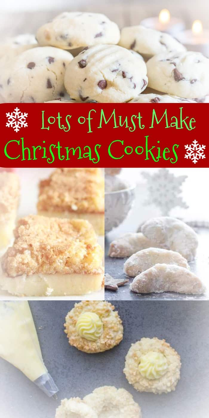 My Moms Best Christmas Cookies and Bars from shortbread, sugar cookies to jam bars and chocolate recipes, these are all our tried & true favorites.  #Christmas #cookies #Christmas Cookies #shortbread #chocolate #bars #dessert