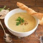 Creamy Mushroom Soup and Parmesan Bread Twists, an easy delicious homemade creamy mushroom soup recipe, perfect with these no-yeast Twists./anitalianinmykitchen.com