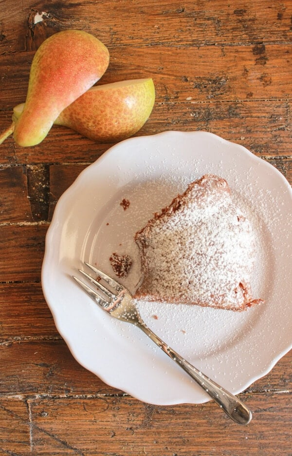 Dark Chocolate Pear Cake, an easy Italian Bundt cake recipe, made with fresh Pears and dark chocolate. A moist delicious cake you will love.