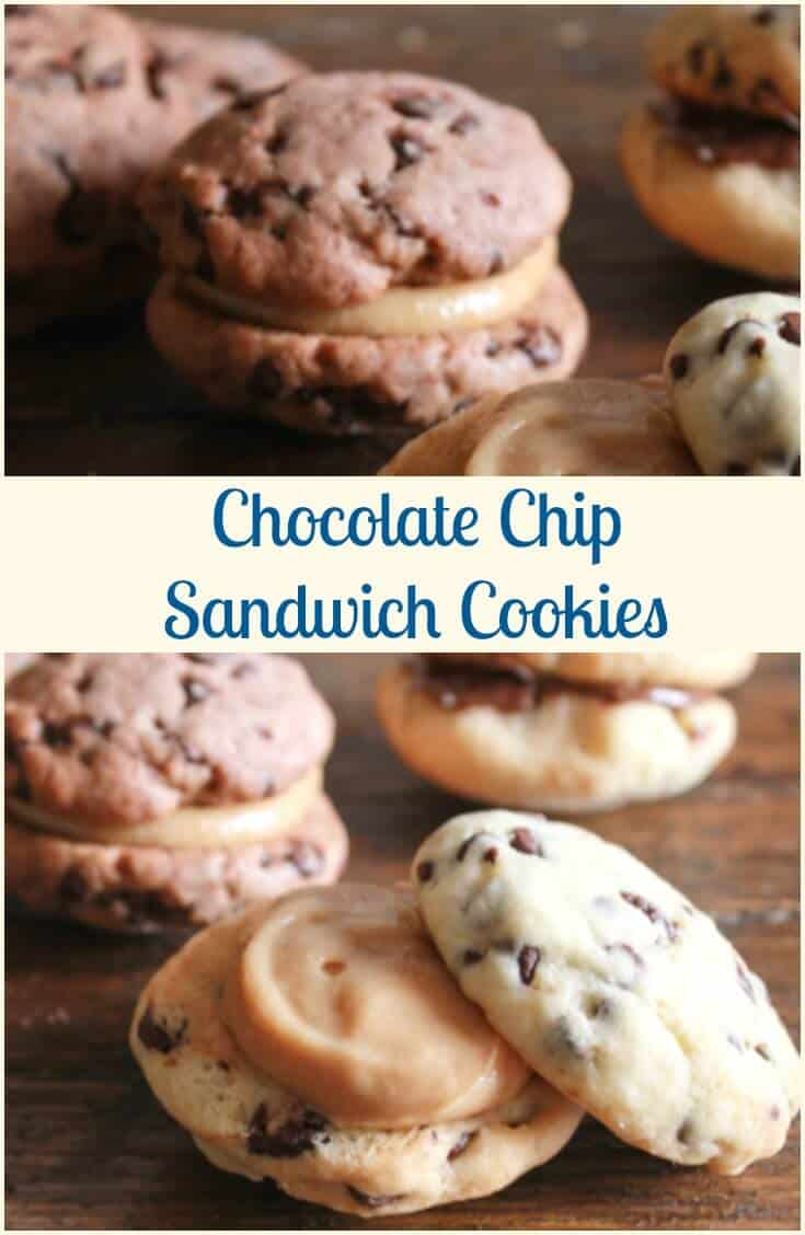 Chocolate Chip Sandwich Cookies, the perfect cookie, chocolate/double chocolate chip stuffed with Nutella or a creamy peanut butter filling.