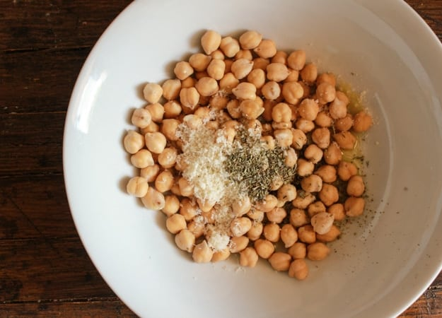 Italian Roasted Chickpeas, healthy, Parmesan oven roasted Chickpeas. The perfect crunchy anytime snack. The best roasted chickpea recipe.  anitalianinmykitchen.com