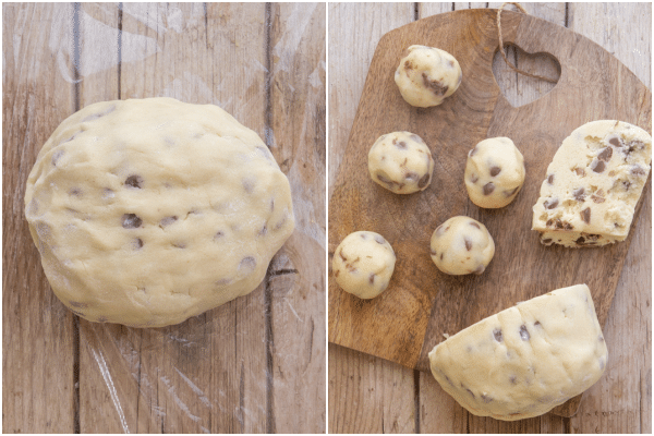 how to make chocolate chip cookies making the dough and dividing into cookies
