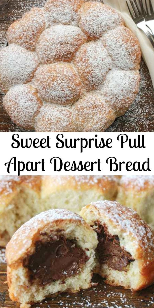 Sweet Surprise Dessert Bread, a delicious pull apart bread stuffed with different fillings. Perfect for breakfast or dessert kid friendly. #pullapartbread #sweetbread #monkeybread #breakfast #snack