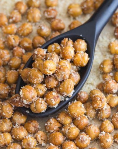 roasted chickpeas on a black spoon