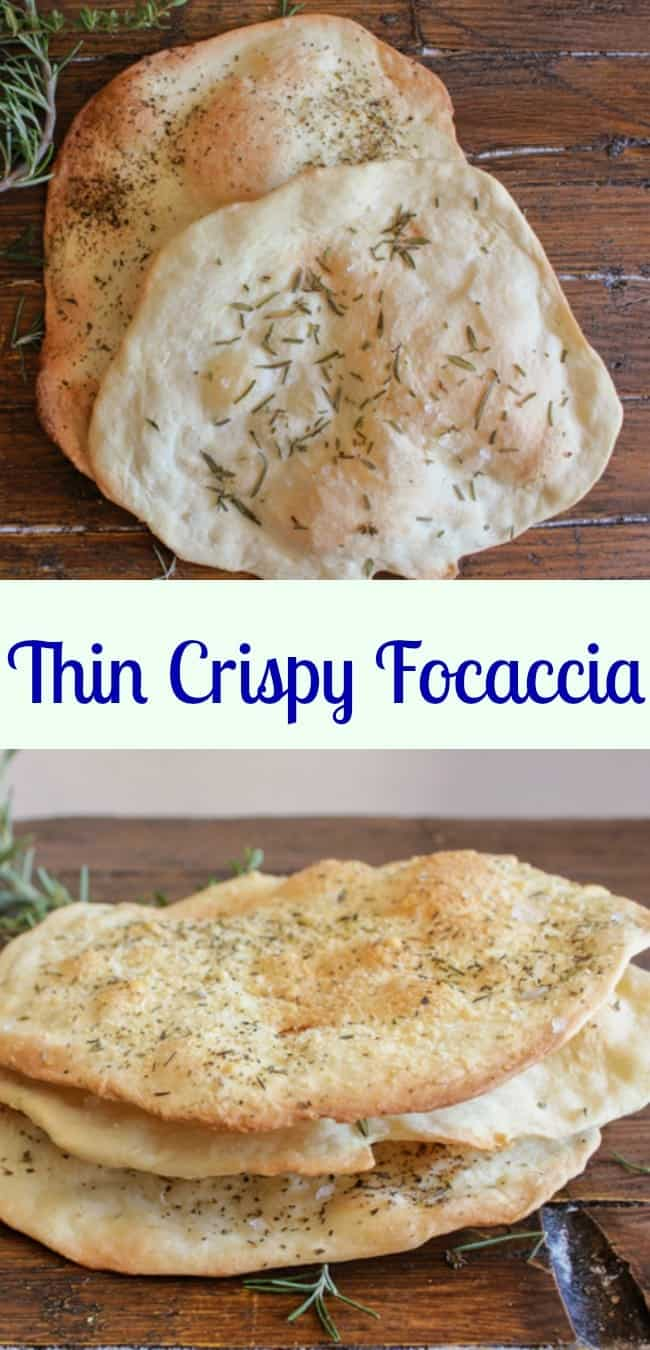 Thin Crispy Focaccia, an easy, crunchy, yeast free Italian recipe, sprinkle it with your favorite seasonings. A perfect accompaniment to soup, stews, appetizer or snack.|anitalianinmykitchen.com