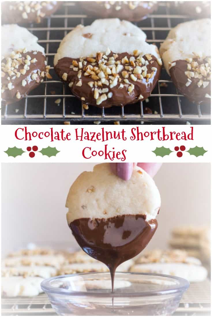 Chocolate Hazelnut Shortbread Cookies, a simple, easy melt in your mouth #Christmas #Shortbread #Cookie, perfect plain or dipped in #chocolate.