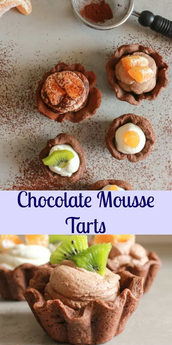 Chocolate Mousse Tarts, the perfect simple,easy, light dessert recipe, made with a flaky pastry dough and an eggless creamy dark or white chocolatey mousse. anitalianinmykitchen.com