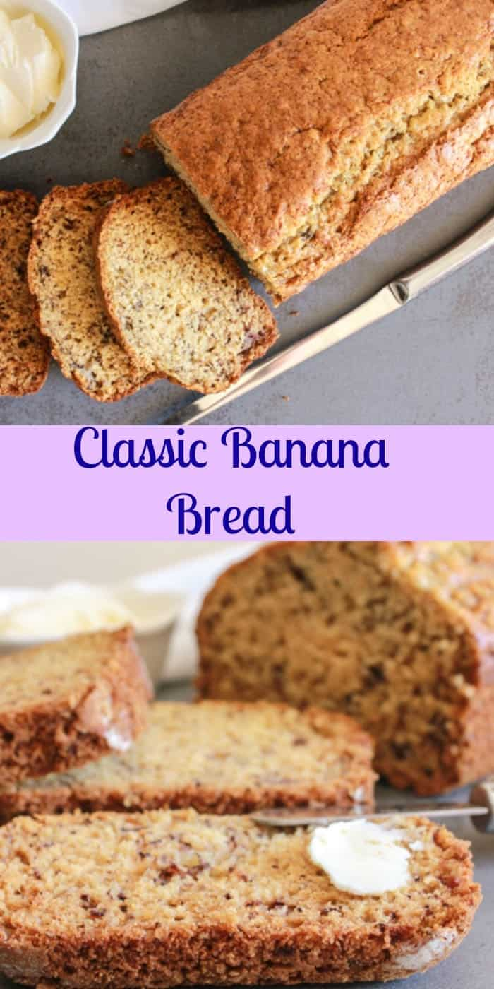 Classic Banana Bread a simple, easy, delicious sweet bread recipe for breakfast,snack or dessert. Greek yogurt & brown sugar make it perfect.|anitalianinmykitchen.com