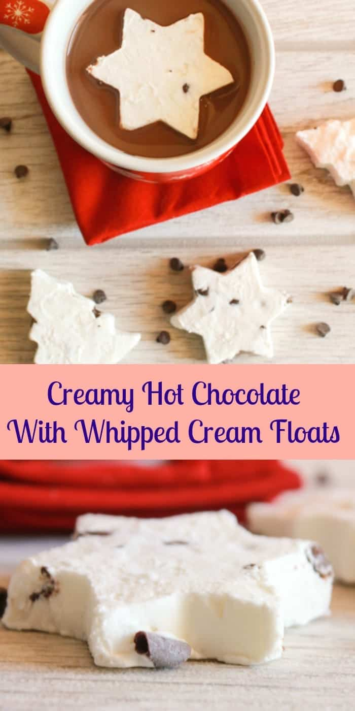 Creamy Hot Chocolate with Whipped Cream Frozen Floats, a delicious easy homemade hot drink, with frozen chocolate chip whip cream floats.|anitalianinmykitchen.com
