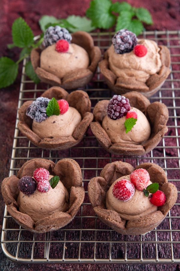 mousse tarts on a wire rack