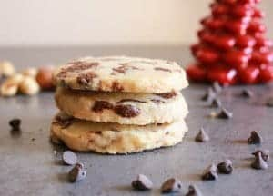 Thick Nutella Chip Shortbread Cookies, an easy, delicious, shortbread recipe. Filled with Homemade Nutella or chocolate chips, you choose!