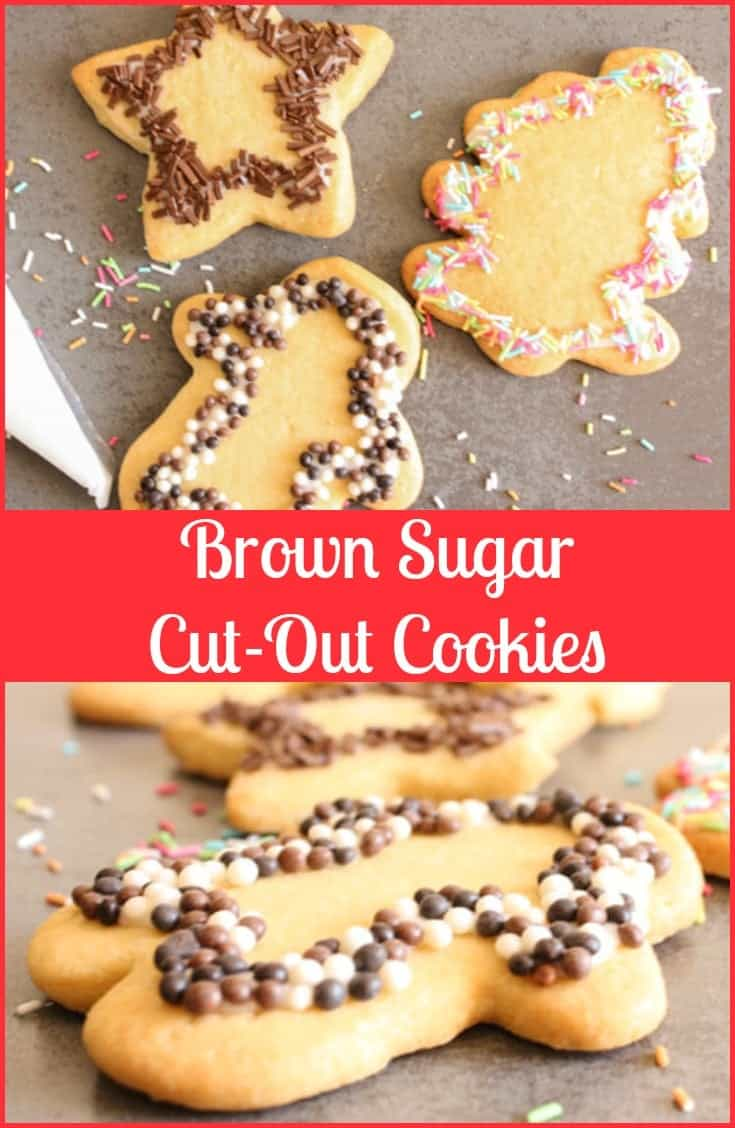 Christmas Brown Sugar Cut-Out Cookies, easy delicious cut out cookie dough recipe, a soft cookie with a little crunch. One of my Mom's best recipes.